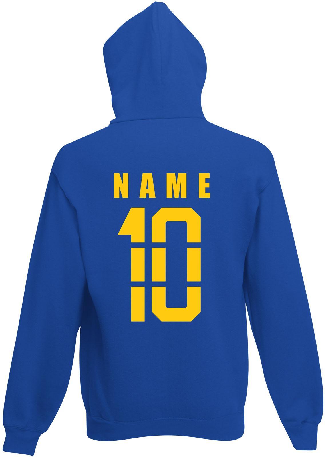 Schweden Sverige Hoody Kapuzen Pullover Trikot mit Name /& Nummer S M L XL XXL