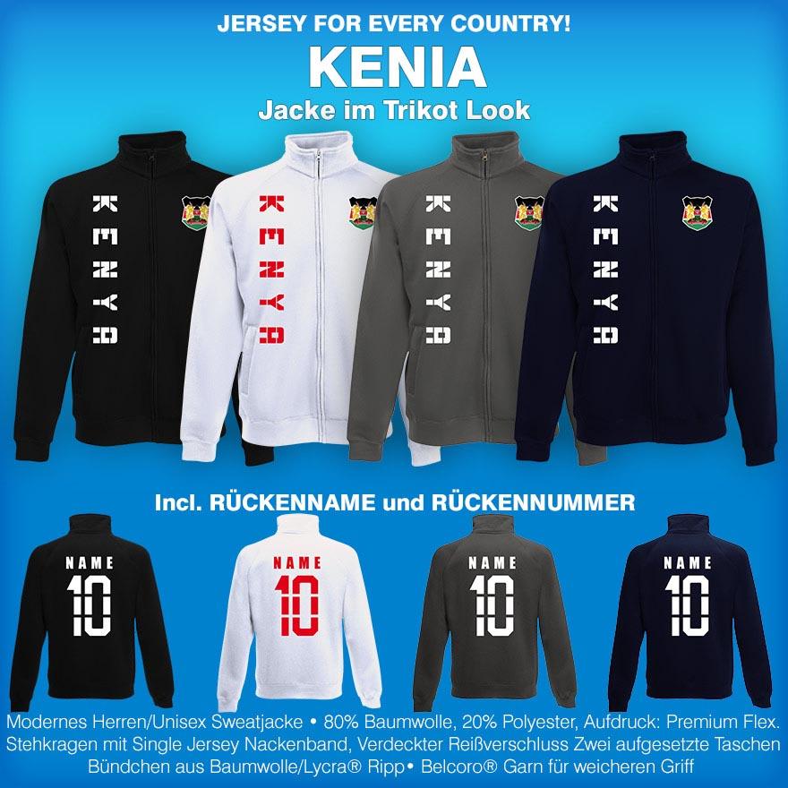 Kenia Kenya Jacke Sweatjacke Trikot mit Name /& Nummer S M L XL XXL