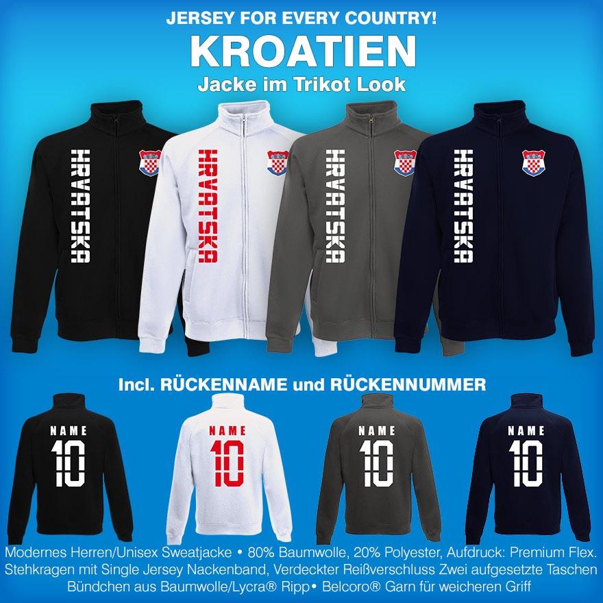 more photos 24a1c fa45b Details zu Kroatien Hrvatska Jacke Sweatjacke Trikot mit Name & Nummer S M  L XL XXL