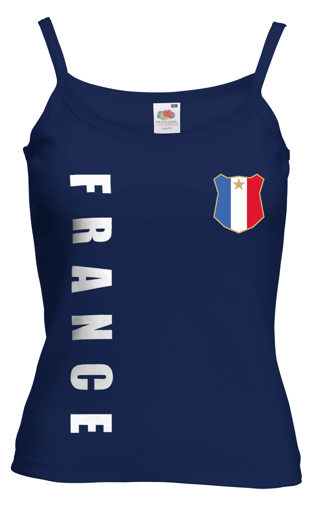 Frankreich-France-WM-2018-Damen-Spaghetti-T-Shirt-Top-Trikot-Name-Nummer-Fussbal