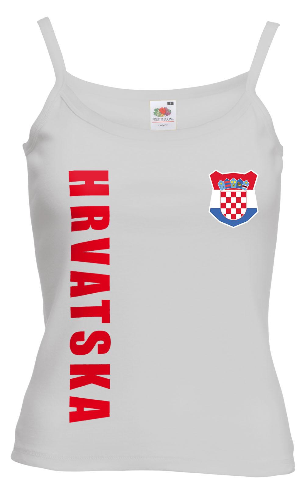 Kroatien-Hrvatska-WM-2018-Damen-Spaghetti-T-Shirt-Top-Trikot-Name-Nummer-Fussbal