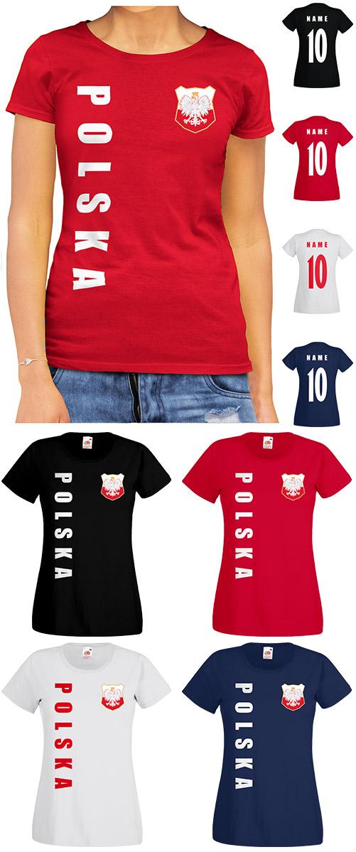 Polen Polska WM 2018 Damen T-Shirt Trikot Name Nummer Fussball Team National